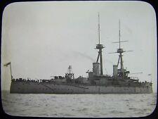 Glass Magic Lantern Slide HMS BELLEROPHON C1910 NAVY PHOTO BATTLESHIP
