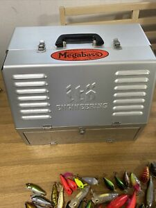 Megabass Asylum Silver Tackle Box with Fishing Lure  from JAPAN