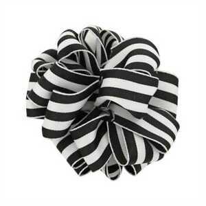 "2-1/2"" Wired Black & White Grosgrain Carnival / Mono Stripes Ribbon"