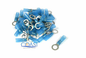 Xscorpion HSRT516B 16-14 Gauge Heatshrink Ring Terminal Size #5/16 Blue (50PCS)
