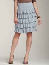 NEW $159 TALBOTS Gray Silk Crepe de Chine Tiered Ruffle Skirt Sz 8P,8 Petite