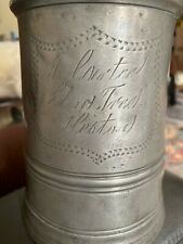 Early Antique English Pewter Quart Tankard Vr 31, Multiple Makers Marks