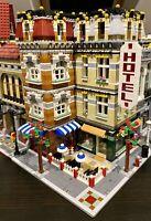 LEGO CUSTOM MODULAR LARGE CORNER BUILDING HOTEL CAFE fits with 10185 MOC 546