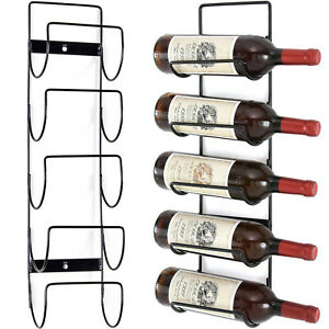 5 BOTTLE WINE RACK BLACK METAL WALL MOUNTED STORAGE HOLDER SHELF KITCHEN VINE