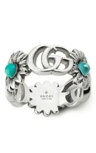 Gucci Sterling Silver GG Marmont Flower Turquoise Ladies Ring YBC527394001015