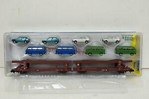 Spur N--TRIX - 15441 ..Autotransportwagen mit 8 Fahrzeugen  ..OVP ..G2 /61