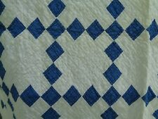 Antique Blue and White Irish Chain Quilt Blue Calico Great Grandmothers