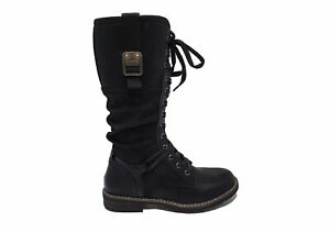 Womens Cipriata Military Combat Lace Up & Zip Black Knee High Boots