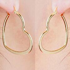 "SALE 9k ""Gold Filled"" Prom GirlHeart Hoop Earrings Bridesmaid Jewellery FREE BOX"