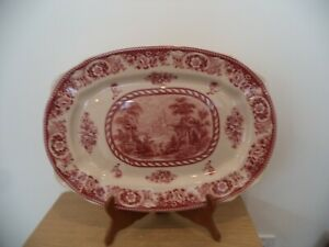"LARGE VENETIAN HOLY SCENE RED PLATTER 18"" X 12 3/4"" 5.2 POUNDS"