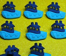 BLUE BOAT Fishing Fisherman Tugboat Fish Cornwall Sea Dress It Up Craft Buttons