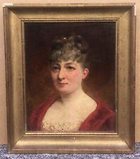 Tableau Ancien Huile Portrait Femme Élégante Châtaignier De Volvreux 1885 XIXe