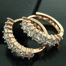 HUGGIE HOOP EARRINGS REAL 18K ROSE G/F GOLD DIAMOND SIMULATED DESIGN FS3AN544
