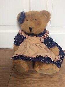 "Russ BerrIe ""Amelia "" Beanie Teddy Bear USA /  Thanksgiving - Very Soft"