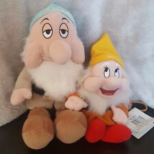 "DISNEY BIANCANEVE & i Sette Nani Happy 9"" giocattolo borsa + Sleepy 13"" Bundle"