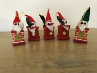 Vintage Flocked And Plastic Santa In Chimney Ornaments Lot Of 5