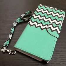 Samsung Galaxy Note 5 - LEATHER CARD WALLET POUCH CASE COVER MINT GREEN CHEVRON