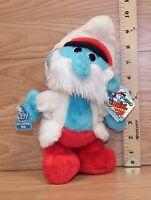 "Vintage Wallace Berrie Peyo 1983 Sea Captain Papa Smurf 10"" Tall Plush Toy Only"