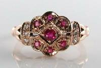 LUSH 9CT 9K ROSE GOLD RUBY & DIAMOND ART DECO INS CLUSTER RING