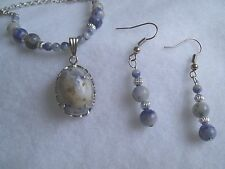 Genuine Sodalite Necklace & Matching Earrings Set Natural Stones Blue NWOT New