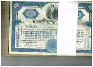 Wholesale-Lot 100 Coty, Inc., 1930s, early type in blue, beautiful, VF