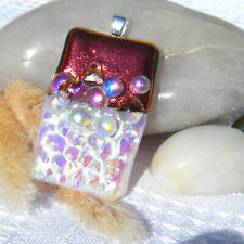 Handmade Dichroic Glass Pendant Necklace Women's Jewellery Red Silver