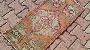 Oushak Turkish Doormat Rug 2x3 ORANGE Vintage Anatolian Handmade Small Kilim Rug