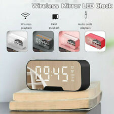 Portable LED Mirror Digital Bluetooth Speakers Dual Alarm Clock MP3 FM Radio