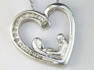 "Sterling Silver .925 Diamond Mother & Child Heart Fine Pendant Necklace-16"""