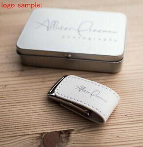 USB 2.0 Flash Drive Custom Wedding Logo Leather Photography Storage memory disk