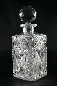 Stunning Brilliant Cut Lead Crystal Square Whisky Decanter - vintage antique