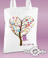 PERSONALISED Tote Bag Thank You Teacher Nursery Gift Heart Tree White