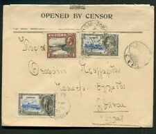 1935 Silver Jubilee Cyprus 21/2p cover to Greece CIVIL CENSORSHIP cancel & Label