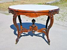 Rosewood Victorian Marble Top Center Lamp Table~~Inset Marble