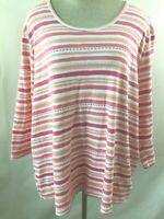 BLAIR knit top size 2X pink stripe 3/4 sleeve womens blouse