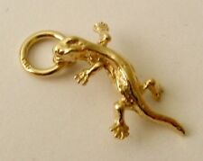SOLID  9K  9ct YELLOW GOLD 3D LIZARD REPTILE ANIMAL Charm/Pendant