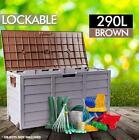 290L Outdoor Storage Lockable Lid Box Brown Weatherproof Garden Deck Toy Shed
