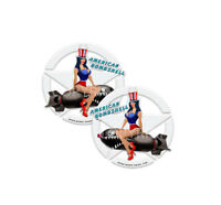 Pinup Girl Stickers Pinup Art Decals American Flag American Bombshell  4-pack #m
