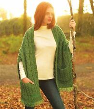 Carraig Donn Ladies Irish Wool Wrap With Pockets Made in Ireland From Soft
