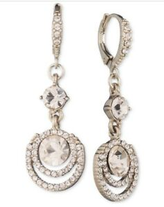 $48 Givenchy goldtone champagne   crystal pave pear  double drop earrings Q165