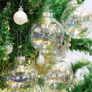 6/8/10cm Chic Iridescent Glass Ball Baubles Fillable Hanging Bubble Ornament DIY