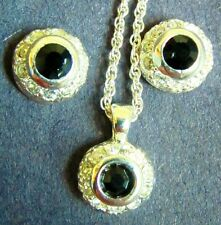 Silver Plated Pendant & Necklace Black Agate Cubic Zirconia & CZ Earrings SET