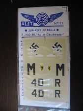 1/72 ABT DECAL N° 112 JUNKERS JU 88 A-4  WERNER BAUMBACH  MEDITERRANNEE 1942