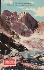 Long's Peak Chasm Lake, Rocky Mountain National Park Colorado Old Linen Postcard