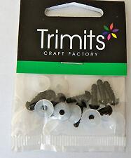 6 mm SOLID BLACK Occhi Con Rondelle Per Toys & Crafts