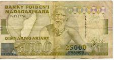 BILLET BANQUE MADAGASCAR 25000 FRS 5000 ARIARY 1993 état voir scan 701