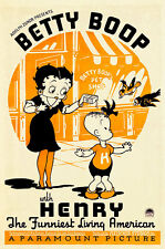 Betty Boop and Henry 1935 A1 Vintage High Quality Canvas Art Print