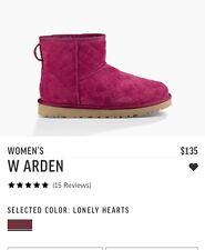 UGG Australia Arden New  Pink Mini Boots Snow Lonely Hearts Fuchsia 8 Kids 6