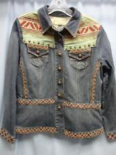 Coldwater Creek Denim Jacket Embroidered Southwest Design Size PM