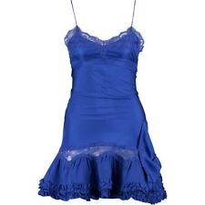 Genuine MANOUSH Designer Blue Silk Chemise Ruffle Dress - size Medium